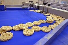有用的整粒挤压机薄脆饼干的生产的传动机自动磁带 库存图片
