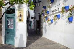 有用蓝色花盆装饰的白色墙壁的老狭窄的街道在传统西班牙村庄Poble Espanyol 库存照片