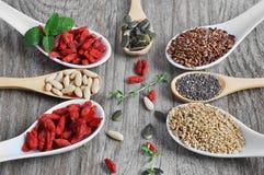 有用,健康食物 设置健康饮食的种子 免版税库存照片