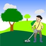 有电动工具串草坪整理者刈草机的年轻工人 库存图片