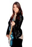有电吉他的女孩 免版税图库摄影
