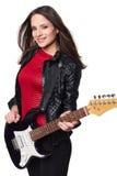 有电吉他的性感的女孩反对白色 库存照片