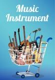 有电声学吉他大鼓圈套小提琴尤克里里琴萨克斯管键盘话筒和耳机的乐器在sho 免版税库存图片