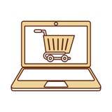 有电子商务的app膝上型计算机 免版税库存图片