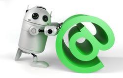 有电子邮件符号的机器人 免版税库存照片