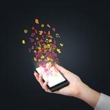 有电子邮件标志的手机 免版税图库摄影