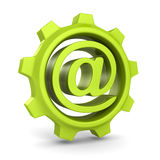 有电子邮件的绿色钝齿轮齿轮在标志 图库摄影