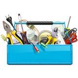 有电工具的传染媒介蓝色工具箱 库存例证