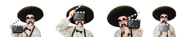 有电影委员会的滑稽的墨西哥人 库存图片