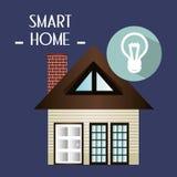 有电灯泡光服务的聪明的房子 库存图片