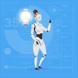 有电灯泡未来派人工智能技术创新概念的现代机器人女性 库存例证