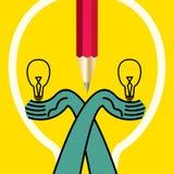 有电灯泡的创造性的手 免版税库存照片