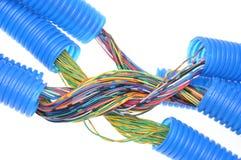 有电缆的波纹状的塑料管子 免版税库存照片