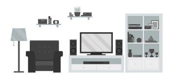 有电视区域和家具的现代客厅 库存照片