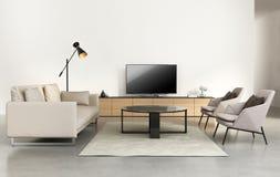 有电视墙壁家具的现代客厅 免版税库存图片
