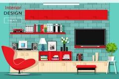 有电视墙壁的现代图表客厅家具 与红色碗柜的时髦的室内部 平的样式 皇族释放例证