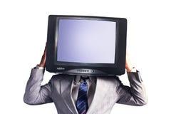 有电视的人而不是在白色背景隔绝的头 安置文本 多媒体社会网络概念 库存图片