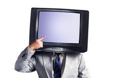 有电视的人而不是在白色背景隔绝的头 安置文本 多媒体社会网络概念 免版税库存照片