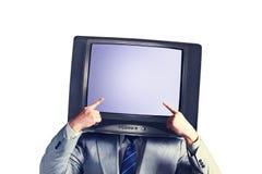 有电视的人而不是在白色背景隔绝的头 安置文本 多媒体社会网络概念 免版税库存图片