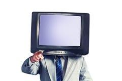 有电视的人而不是在白色背景隔绝的头 安置文本 多媒体社会网络概念 图库摄影