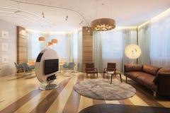 有电视的大豪华在最低纲领派样式的家庭娱乐室和沙发 库存图片