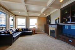 有电视的,皮革沙发豪华客厅 库存图片