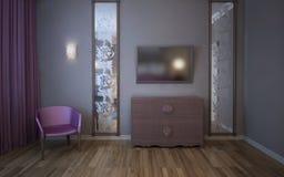 有电视的,镜子,扶手椅子墙壁 免版税库存照片