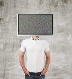 有电视头的男孩 免版税库存图片