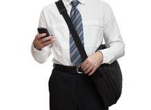 有电话和poltfelem的女实业家 免版税图库摄影