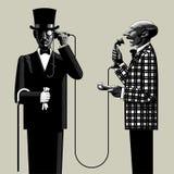 有电话的两个人 向量例证