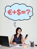 有电话的女实业家 免版税库存照片