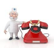 有电话的3D医生。 库存照片
