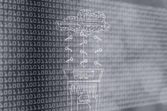 有电路云彩和钥匙的膝上型计算机,安全密码和云彩sto 免版税库存照片