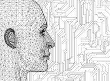 有电路板的抽象人头 向量例证