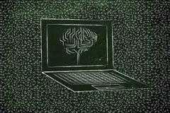 有电路脑子的膝上型计算机在屏幕上,有杂乱二进制编码arou的 免版税库存照片