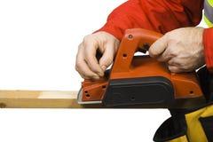 有电飞机的木匠 免版税库存照片