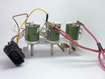 绕有电阻丝的可变电阻器和插座的块 免版税库存照片
