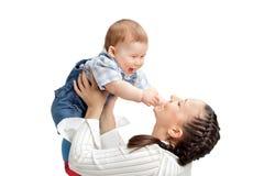 有男婴的愉快的母亲 图库摄影