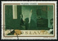 有画架的画家Miljenko Stabci 免版税库存照片