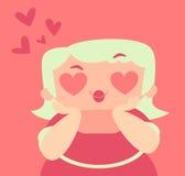 有疯狂的心脏眼睛的白肤金发的女孩 免版税库存照片