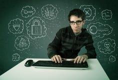 有病毒和乱砍想法的年轻书呆子黑客 图库摄影
