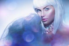 有白发的秀丽妇女和冬天称呼构成 高档时尚模型女孩画象 免版税库存图片