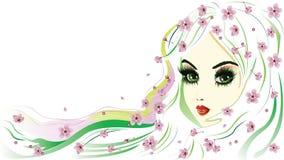 有白发的花卉女孩 免版税库存图片