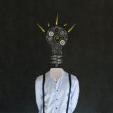 有白垩电灯泡头的聪慧的富创意的人 免版税库存照片