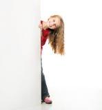 有白板的小女孩 免版税图库摄影