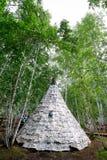 有白桦树皮的房子在夏天森林里 免版税库存照片