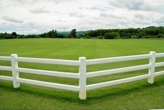 有白水泥篱芭和多云天空的绿色牧场地 库存图片