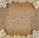 有白皮书玫瑰色花框架的老木颗粒盘 图库摄影