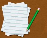 有白纸和铅笔的桌面 免版税库存照片