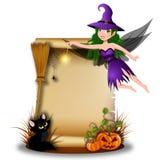 有白纸的逗人喜爱的神仙的巫婆在万圣夜场面 免版税库存图片